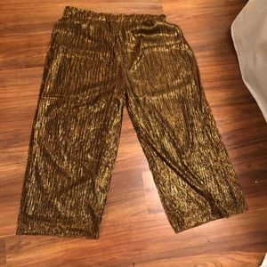 Cropped copper metallic pant